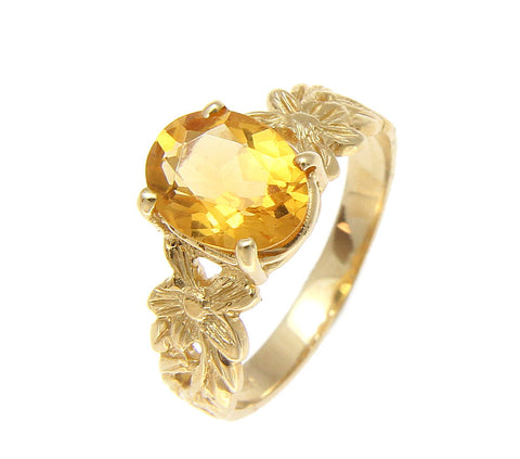 GENUINE 1.50CT OVAL CITRINE SOLITAIRE RING 14K YELLOW GOLD HAWAIIAN PLUMERIA