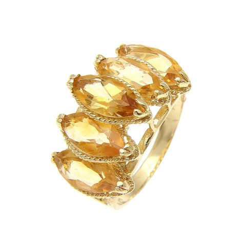 GENUINE 6.00CT MARQUISE CITRINE RING SOLID 14K YELLOW GOLD