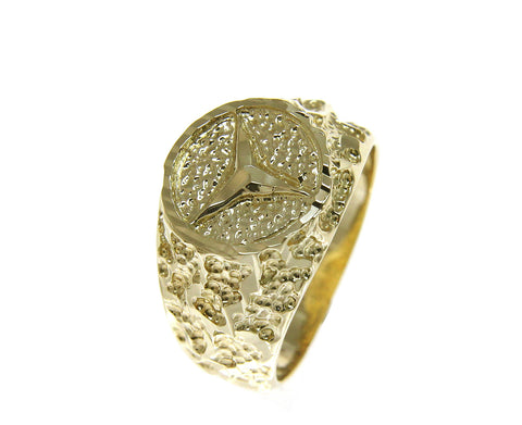 SOLID 14K YELLOW GOLD DIAMOND CUT MERCEDEZ BENZ NUGGET RING 12MM