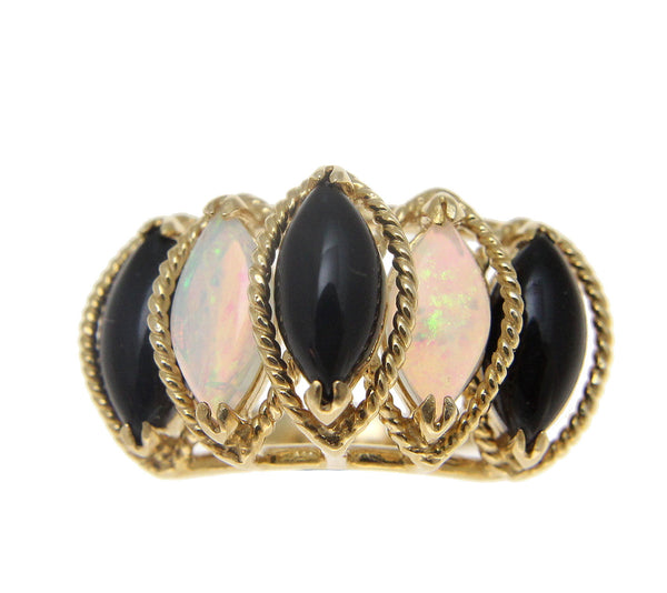 Genuine Natural Marquise Black Coral Australian Opal Ring