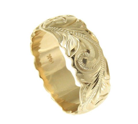 14K YELLOW GOLD HAND ENGRAVED HAWAIIAN PLUMERIA SCROLL BAND RING CUT OUT 8MM