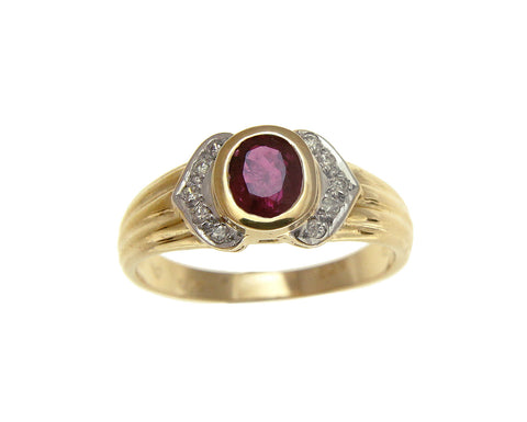0.85CT 4.5X5.6MM GENUINE OVAL RUBY DIAMOND SOLITAIRE RING SOLID 14K YELLOW GOLD