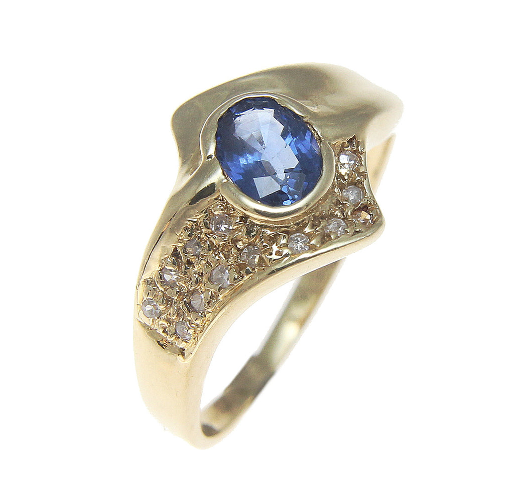 0.70CT GENUINE OVAL CUT SAPPHIRE & DIAMOND SOLITAIRE RING SOLID 14K YELLOW GOLD