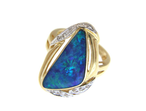 GENUINE AUSTRALIAN OPAL DIAMOND RING SOLID 14K YELLOW GOLD 16.20MM