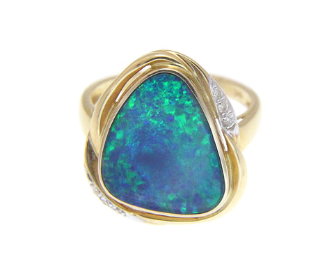 GENUINE AUSTRALIAN OPAL DIAMOND RING SOLID 14K YELLOW GOLD 17.25MM