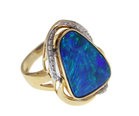 GENUINE AUSTRALIAN OPAL DIAMOND RING SOLID 14K YELLOW GOLD 17.50MM