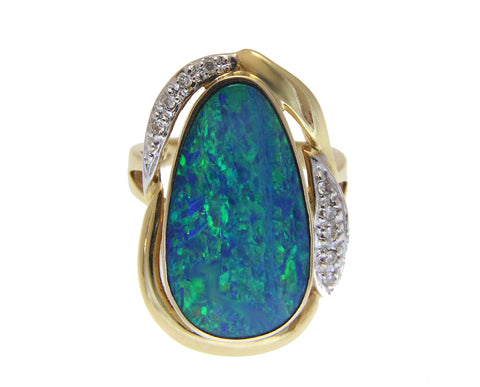 GENUINE AUSTRALIAN OPAL DIAMOND RING SOLID 14K YELLOW GOLD 18.50MM
