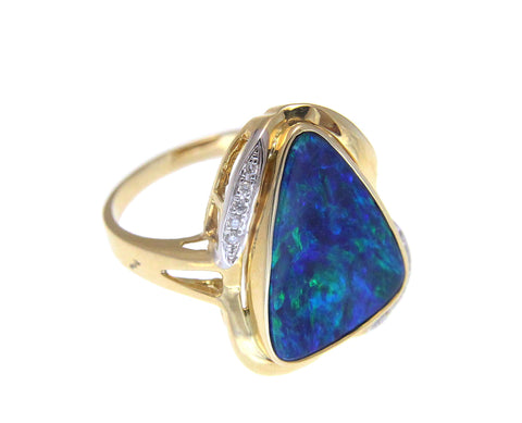 GENUINE AUSTRALIAN OPAL DIAMOND RING SOLID 14K YELLOW GOLD 15.25MM