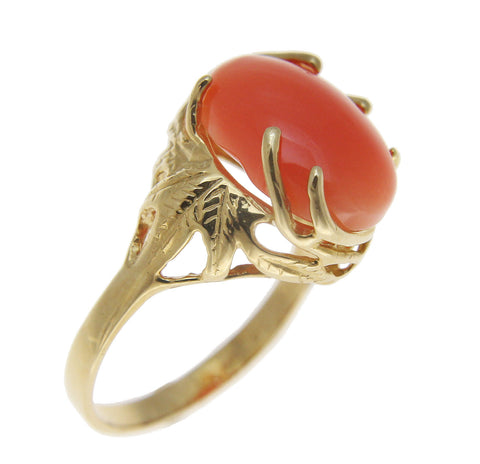 GENUINE NATURAL OVAL CABOCHON PINK CORAL RING SOLID 14K YELLOW GOLD