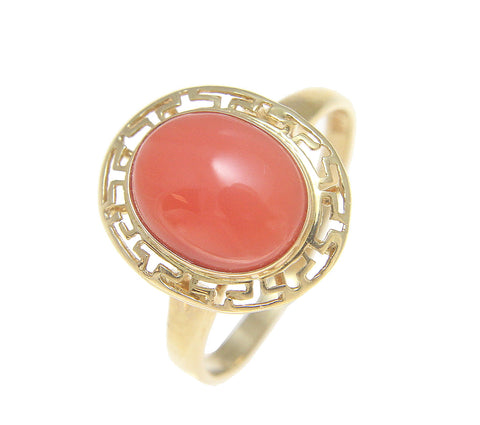 GENUINE NATURAL OVAL CABOCHON PINK CORAL RING GREEK SOLID 14K YELLOW GOLD