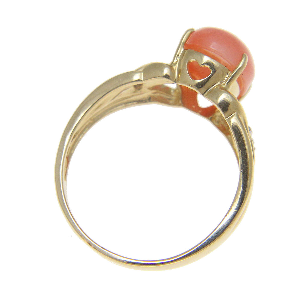 Genuine Natural Oval Cabochon Pink Coral Diamond Ring