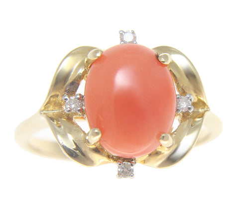 GENUINE NATURAL OVAL CABOCHON PINK CORAL DIAMOND RING SOLID 14K YELLOW GOLD