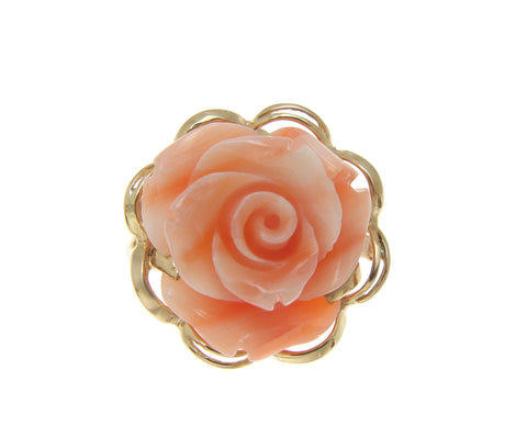 GENUINE NATURAL PINK CORAL CARVED FLOWER RING SOLID 14K YELLOW GOLD
