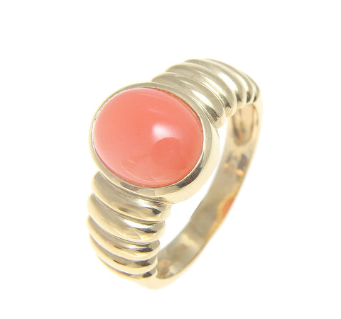 GENUINE NATURAL OVAL CABOCHON PINK CORAL RING IN SOLID 14K YELLOW GOLD