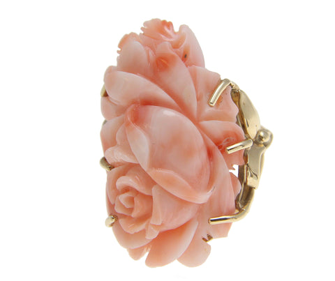 GENUINE NATURAL PINK CORAL CARVED FLOWER RING IN SOLID 14K YELLOW GOLD