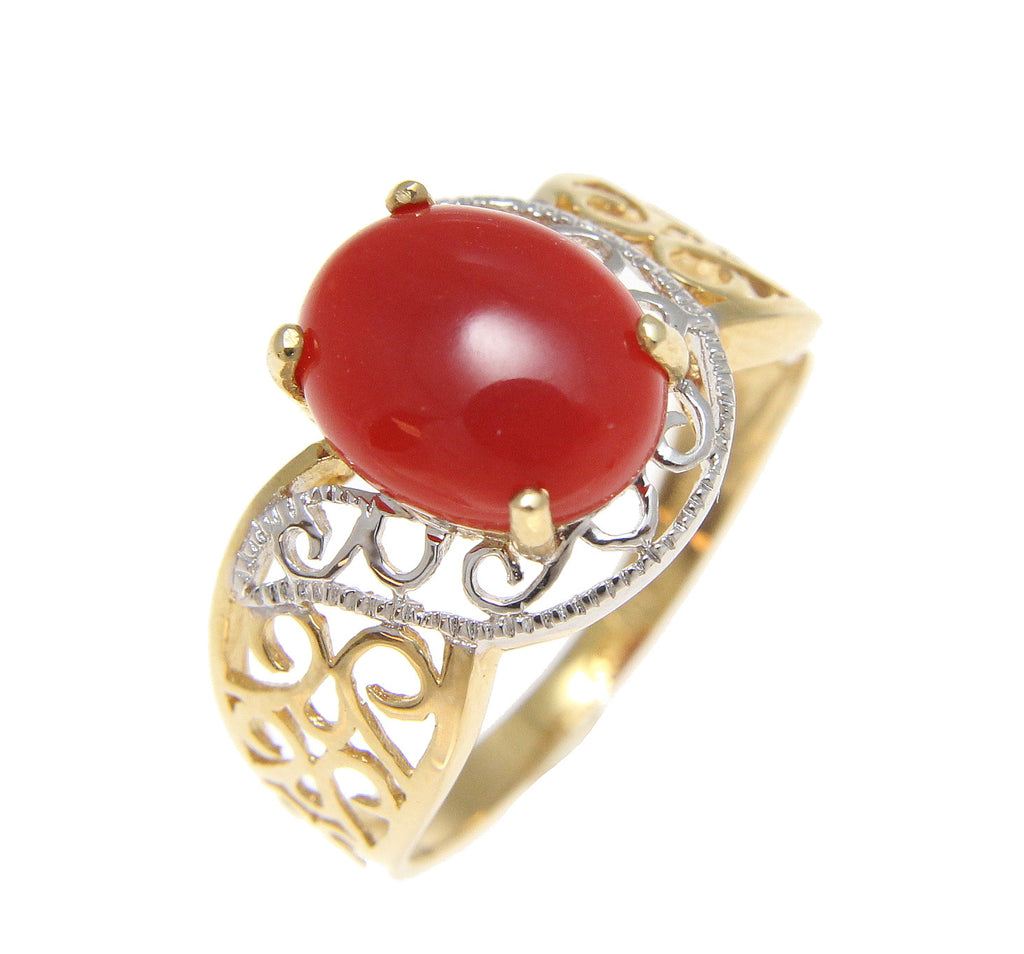 GENUINE NATURAL OVAL CABOCHON RED CORAL RING SOLID 14K YELLOW GOLD