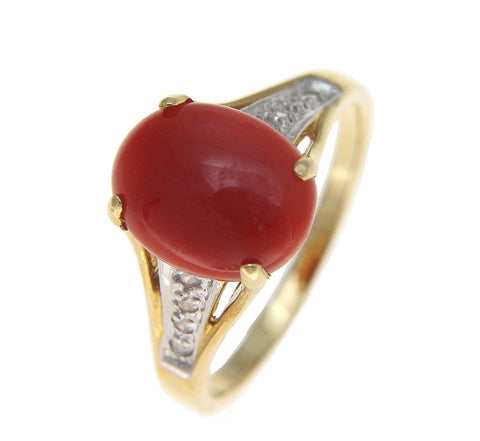 GENUINE NATURAL OVAL CABOCHON RED CORAL DIAMOND RING SOLID 14K YELLOW GOLD