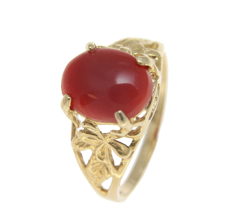 GENUINE NATURAL OVAL CABOCHON RED CORAL RING HAWAIIAN PLUMERIA 14K YELLOW GOLD