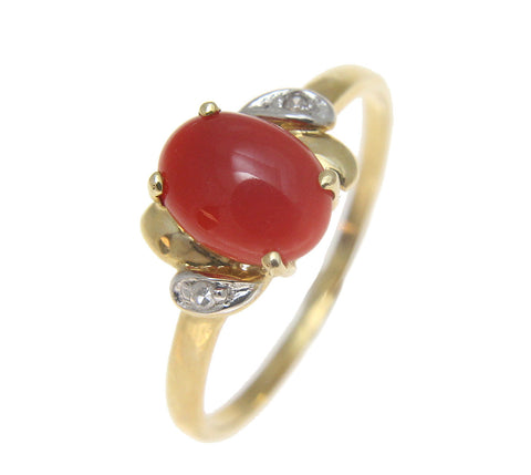 GENUINE NATURAL OVAL CABOCHON RED CORAL DIAMOND RING IN SOLID 14K YELLOW GOLD