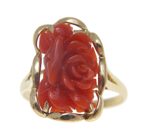 GENUINE NATURAL RED CORAL CARVED FLOWER RING SET IN SOLID 14K YELLOW GOLD
