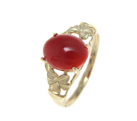 GENUINE NATURAL RED CORAL RING SOLID 14K YELLOW GOLD HAWAIIAN PLUMERIA FLOWER