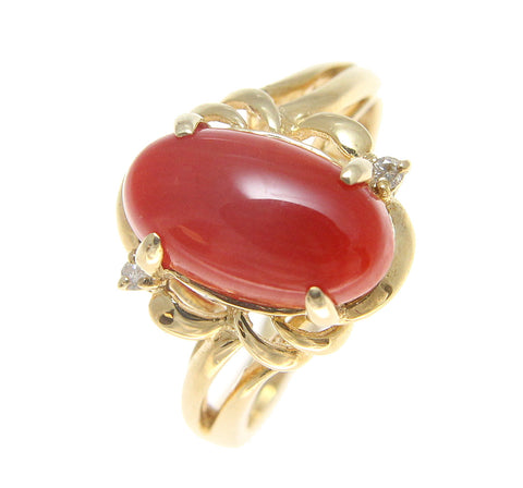 GENUINE NATURAL NOT ENHANCED OBLONG RED CORAL DIAMOND RING SOLID 14K YELLOW GOLD