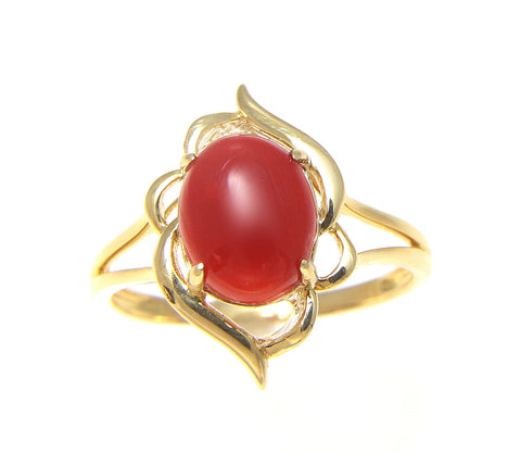 GENUINE NATURAL NOT ENHANCED OVAL CABOCHON RED CORAL RING SOLID 14K YELLOW GOLD