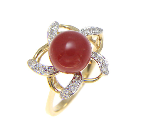 GENUINE NATURAL NOT ENHANCED RED CORAL BALL DIAMOND RING SOLID 14K YELLOW GOLD