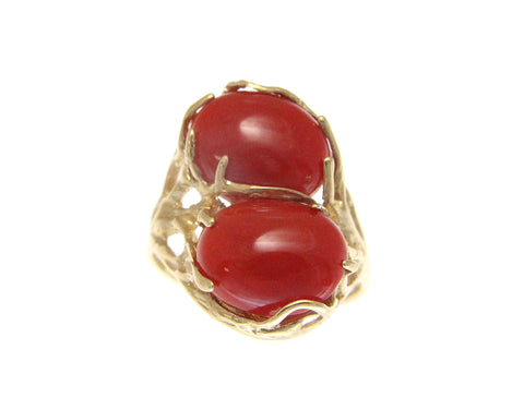 GENUINE NATURAL OVAL CABOCHON RED CORAL RING IN SOLID 14K YELLOW GOLD