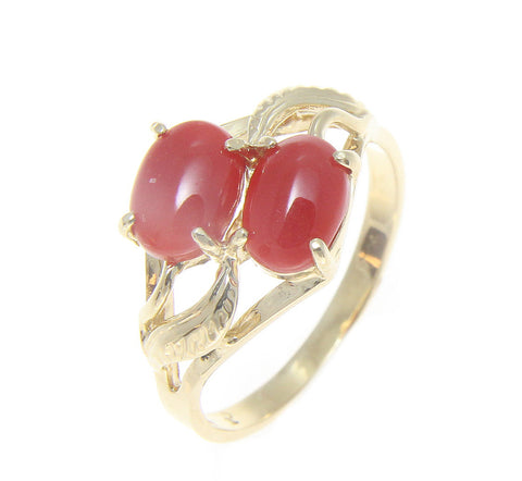 GENUINE NATURAL NOT ENHANCED RED CORAL RING SOLID 14K YELLOW GOLD