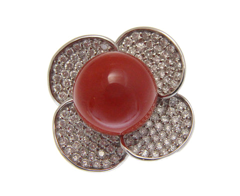 GENUINE NATURAL 13MM RED CORAL ROUND BALL DIAMOND RING SOLID 18K WHITE GOLD