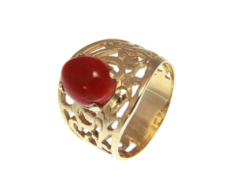 GENUINE NATURAL 7.6MMX9.7MM OVAL CABOCHON RED CORAL RING SOLID 14K YELLOW GOLD