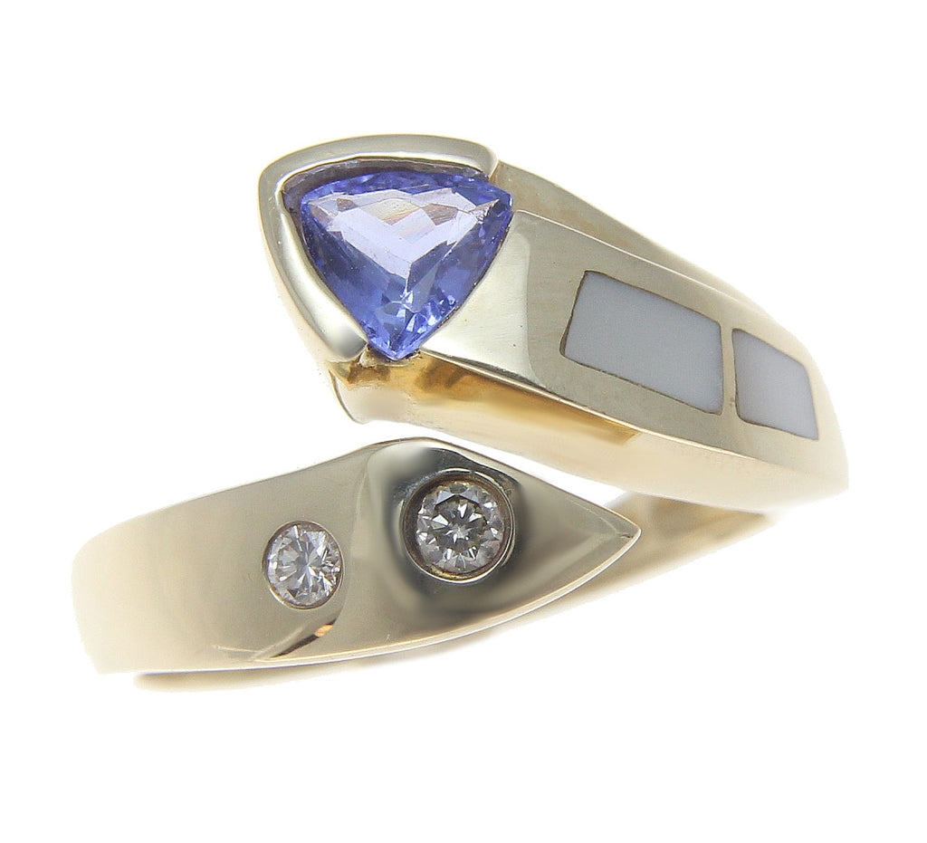 tanzanite trillion band cut natural gold blue if ring twisted solid solitaire engagement white