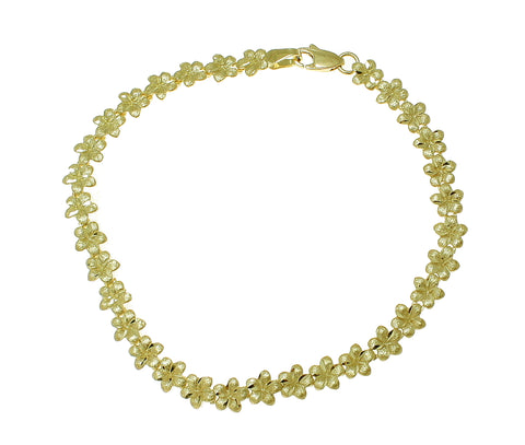 SOLID 14K YELLOW GOLD HAWAIIAN PLUMERIA FLOWER ANKLET 5.5MM 9""
