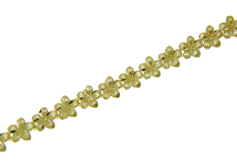 SOLID 14K YELLOW GOLD HAWAIIAN PLUMERIA FLOWER BRACELET 5.5MM 7.25""