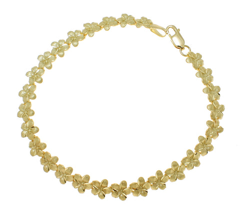 SOLID 14K YELLOW GOLD HAWAIIAN PLUMERIA FLOWER ANKLET 7MM 9 INCH