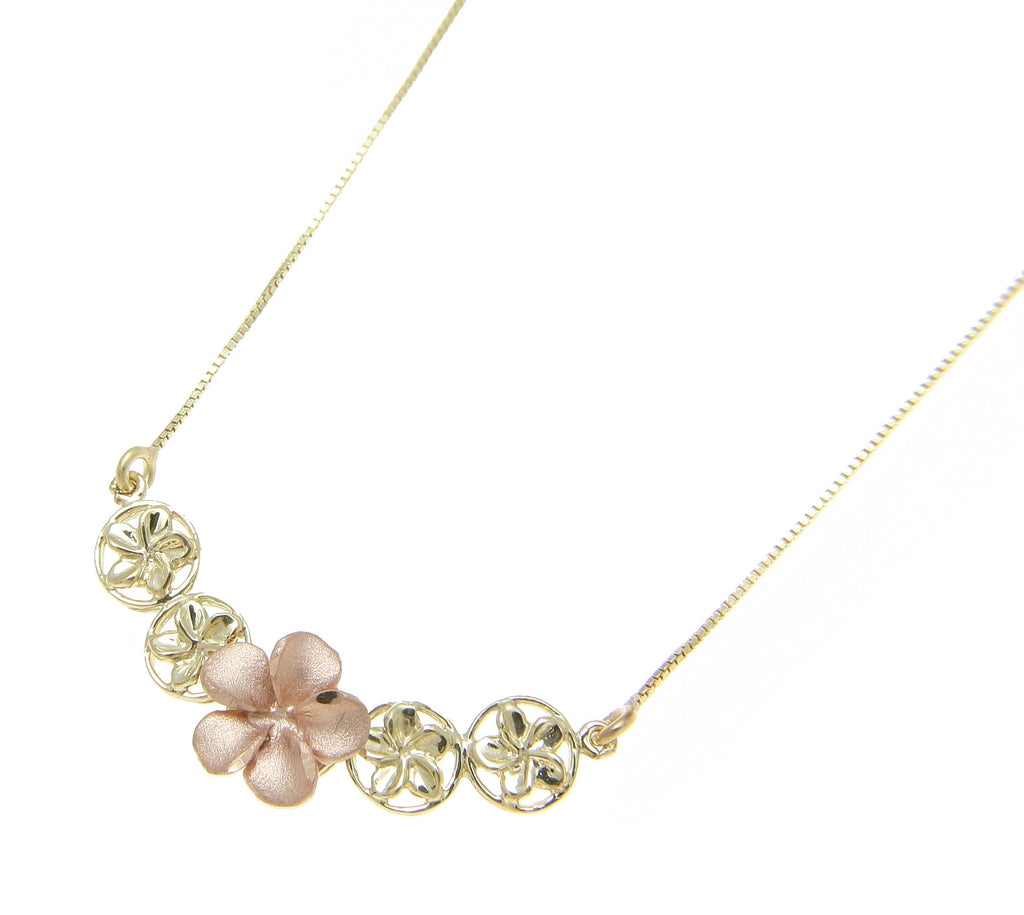 Solid 14k Rose Gold Yellow Gold Hawaiian Plumeria Flower Necklace 17