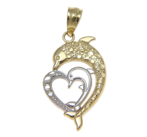 SOLID 14K YELLOW WHITE GOLD HAWAIIAN DIAMOND CUT DOLPHIN HEART CHARM PENDENT