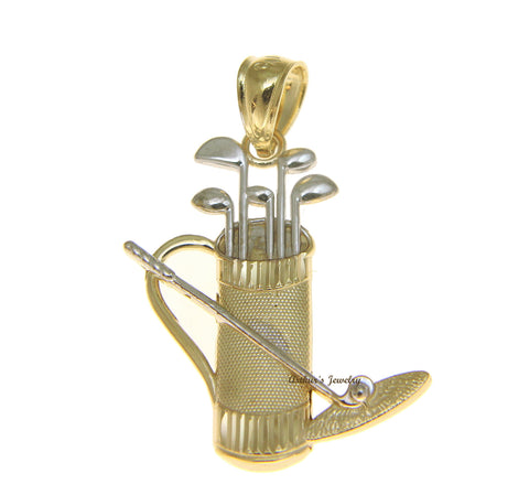 SOLID 14K WHITE GOLD YELLOW GOLD DIAMOND CUT GOLF CLUBS BAG CHARM PENDANT 20MM