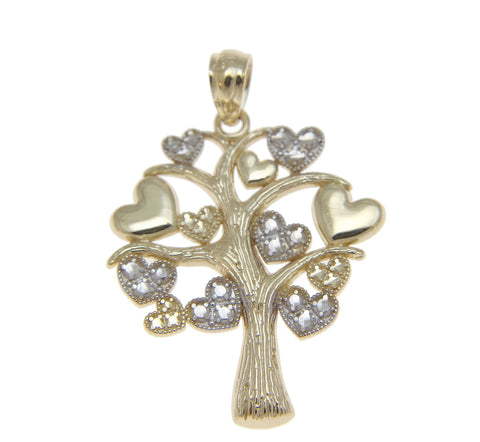 SOLID 14K YELLOW GOLD WHITE GOLD TREE OF LIFE LOVE HEART CHARM PENDENT 20MM