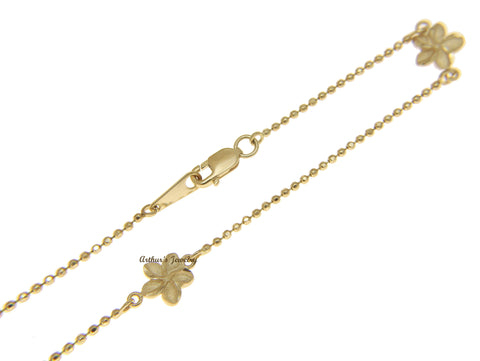 14K YELLOW GOLD 2 SIDED HAWAIIAN PLUMERIA DIAMOND CUT BEAD CHAIN ANKLET 10""