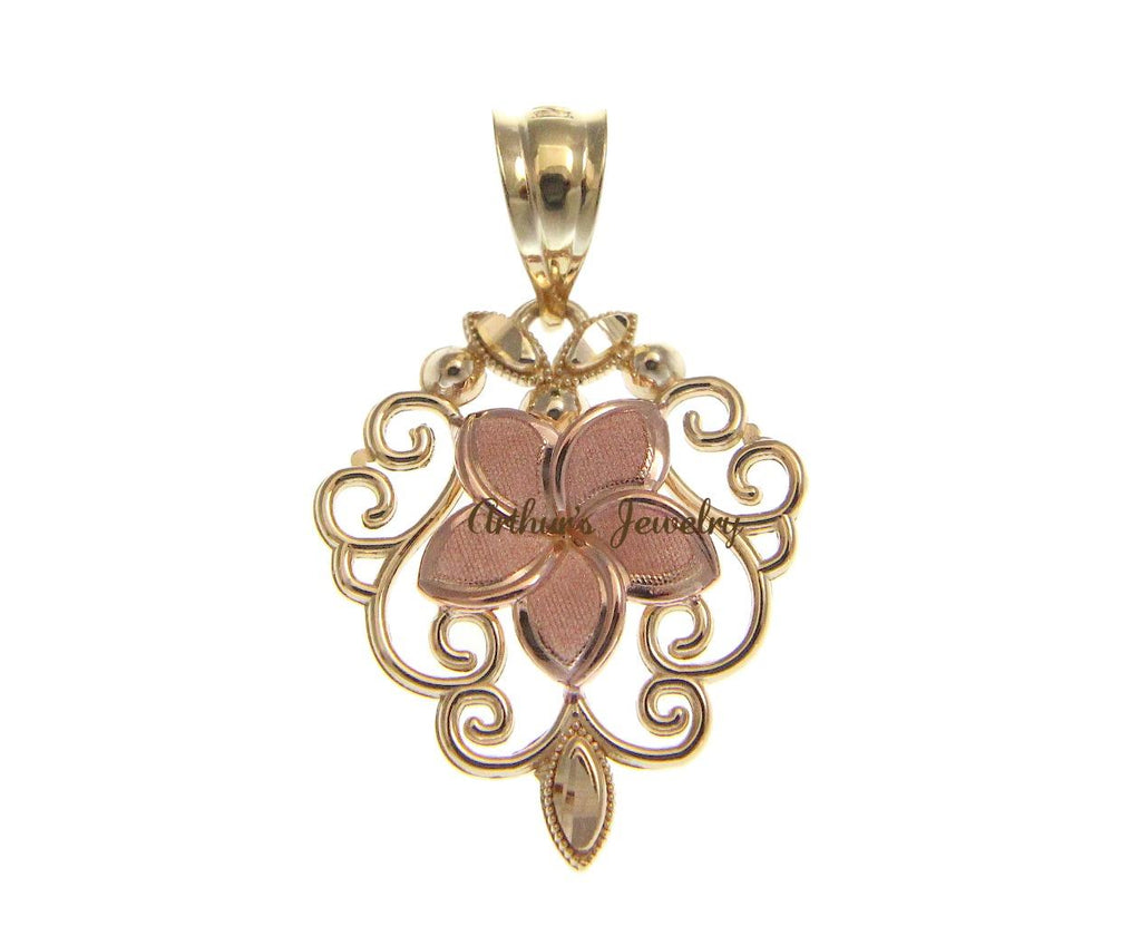 14K PINK ROSE GOLD HAWAIIAN PLUMERIA FLOWER YELLOW GOLD FILIGREE PENDANT