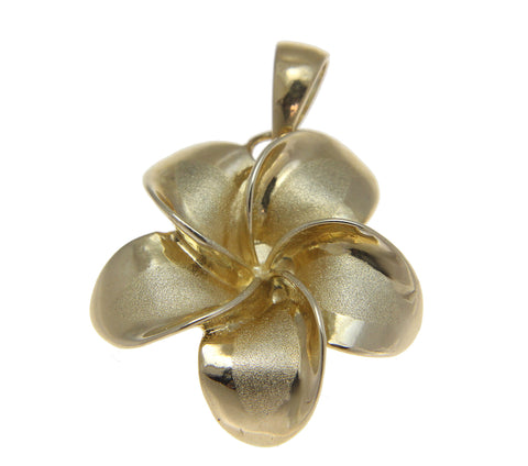 23MM SOLID 14K YELLOW GOLD HAWAIIAN FANCY PLUMERIA FLOWER PENDANT