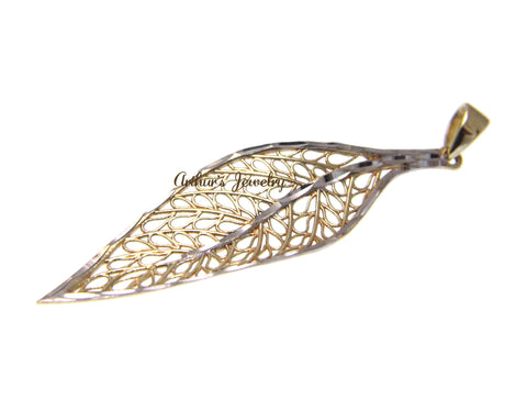 14K YELLOW GOLD WHITE GOLD HAWAIIAN MAILE LEAF FILIGREE DIAMOND CUT PENDANT