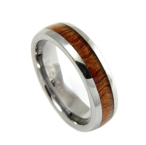 GENUINE INLAY HAWAIIAN KOA WOOD BAND RING TUNGSTEN COMFORT FIT 6MM SIZE 5 -14