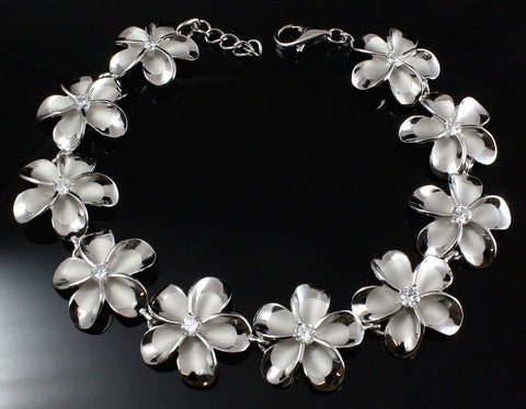 18MM STERLING SILVER 925 HAWAIIAN PLUMERIA FLOWER CZ BRACELET RHODIUM