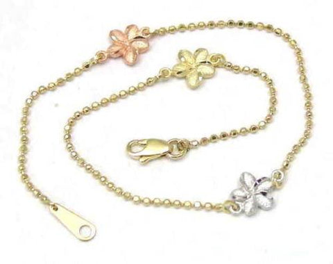14K TRICOLOR GOLD 2 SIDED HAWAIIAN PLUMERIA DIAMOND CUT BEAD CHAIN ANKLET 9""