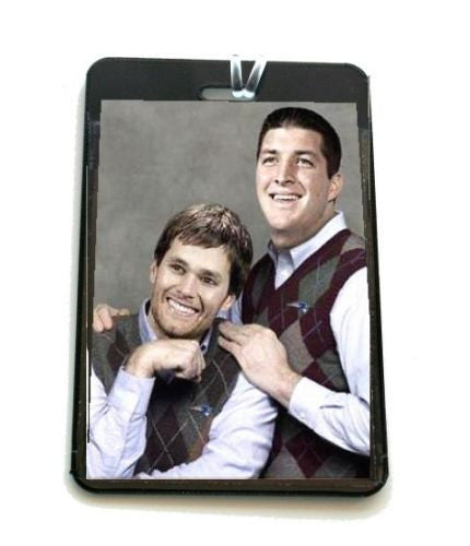 funny gag Tim Tebow Tom Brady New England Patriots Luggage or Book Bag Tag , Football-NFL - n/a, Final Score Products  - 1