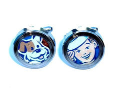 retro Cracker Jack Sailor Boy an Bingo the Dog Cuff Links silver stainless steel , Cracker Jack - n/a, Final Score Products  - 1