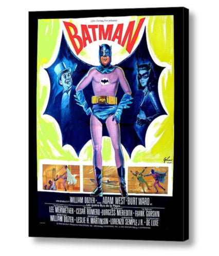 1966 French Batman Movie Poster 18 X 24 Stretched Canvas Print